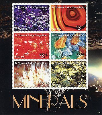 St Vincent & The Grenadines 2015 MNH Minerals 6v M/S II Amethyst Agate Citrine