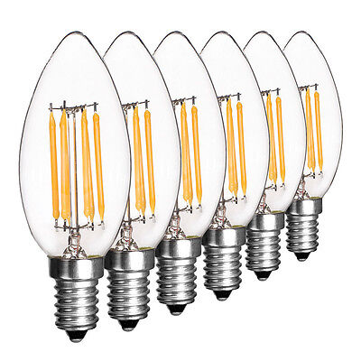 Dimmable E12 E14 Light Bulb LED Retro Edison COB Filament Candle Lamp 110V 220V