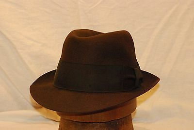 Fedora Chocolate Brown Dobbs Vintage Men's Hat with Black Band -- Size 7 1/8