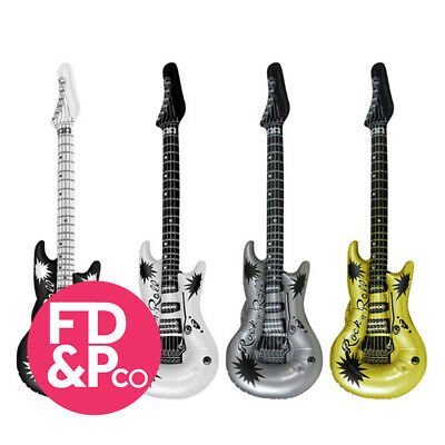 Quan 4x Inflatable Blow Up Guitar 106cm Rock N Roll Party Fancy Dress Birthday