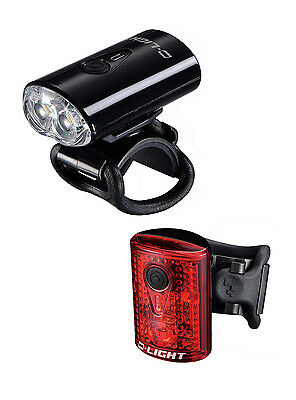 D-LIGHT 2 LED USB Rechargeable Bike Bicycle Safety Front & Rear Light Set Black