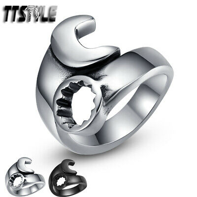 TTstyle Silver 316L Stainless Steel Spanner Punk Ring NEW Arrival