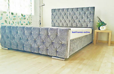 Florida Diamonte Fabric Upholstered Bed Frame Grey 4'6 Double 5ft King Size