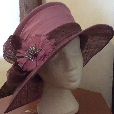 Gorgeous Dusky Pink Wedding Hat By Jacques Vert BNWT Races REDUCED !