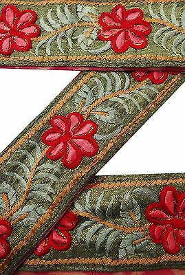 Vintage Sari Border Antique 1Yd Indian Embroidered Trim Used Green Ribbon Lace