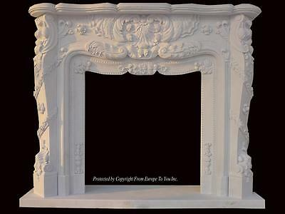 Beautiful Hand Carved Marble European Design Marble Figural Fireplace Mantel Z6