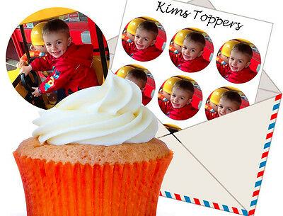 24 x YOUR OWN PERSONALISED IMAGE PHOTO PRECUT Edible Wafer Icing Cupcake Toppers