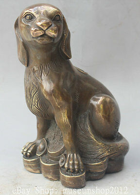 """9"""" China Chinese Copper Folk Wealth Zodiac Year Dog Coin Animal Statue sculpture"""