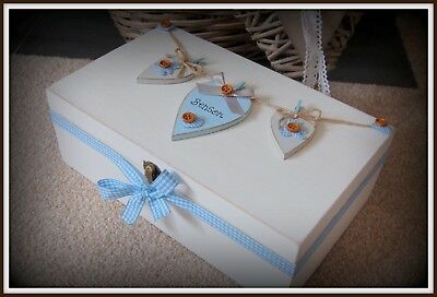 Baby Boy Wooden Large Keepsake Box Gift Christening Memory Box PERSONALISED