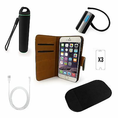 iPhone 6 S Plus Accessory Bundle Leather Case Power Bank Bluetooth Headset Cable