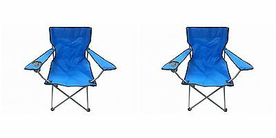 2 Blue & Black Folding Chair With Cup Holder