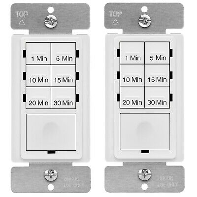 2PK Wall Countdown Timer Light Switch Enerlites HET06A 30 Minute with Free Cover