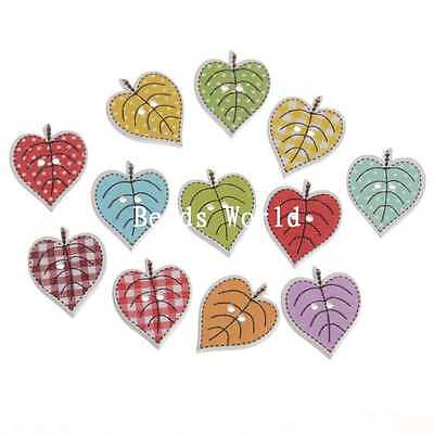 100 Pcs Mixed Tree Leaf Pattern 2 Holes Wood Sewing Buttons Scrapbooking 24x19mm