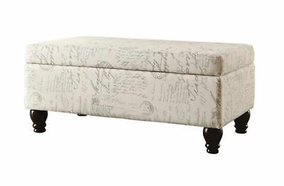 French Script Oatmeal Linen Storage Ottoman by Coaster 500986