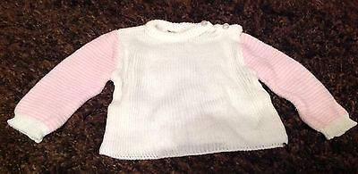 VINTAGE 70'S BABY GIRL MOTHERCARE SIZE 70cm 0-6 Months Jumper White Pink Vgc