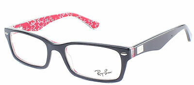 Ray Ban Eyeglasses RX5206 2479 Black On Red Plastic Frame 52mm