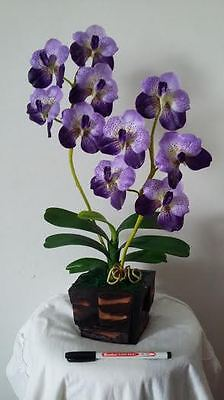 Orchid violet flowers with real wooden pot.  ARTIFICIAL PLANT   (FREE POST)