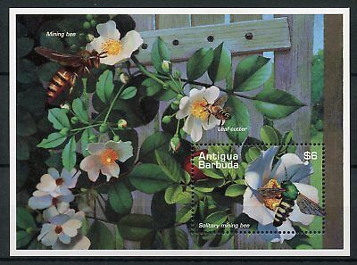 Antigua & Barbuda 1995 MNH Bees Solitary Mining Bee 1v S/S Flowers Stamps