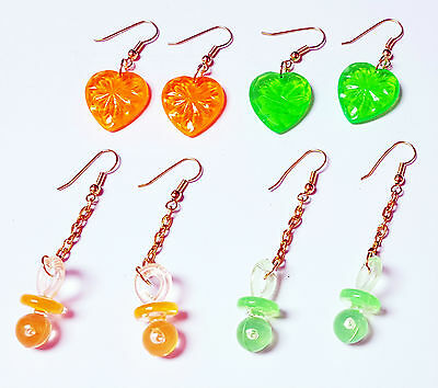 10 Pair VINTAGE Plastic Charms Earring Retro Fashion Jewellery Girl Toy Pacifier