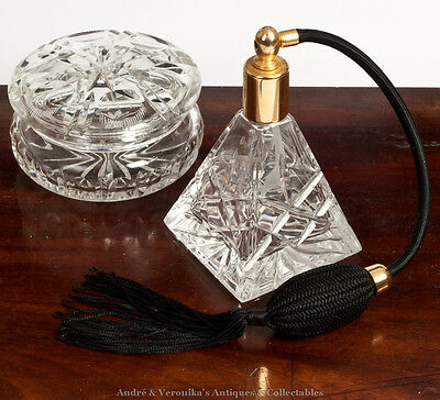 Galway Lead Crystal Perfume Atomiser & Trinket Lidded Dish, Irish Dressing Table