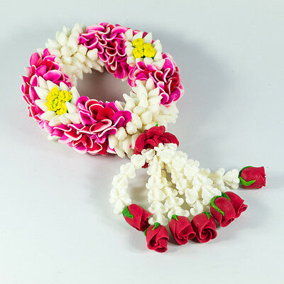 Soap Carving Pink Garland Lei Jasmine Flower Thai Craft Handmade As Real Size