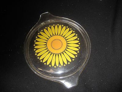 "Pyrex Vintage glass cover sunflower gold goes on gold bowl 1-470 C 5 1/2"" dia"