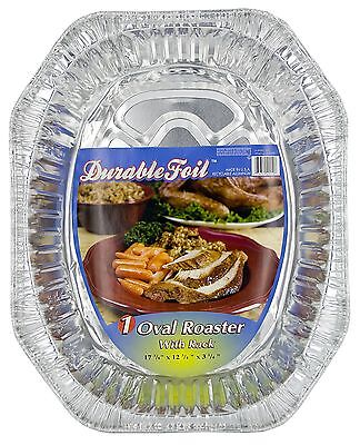 "Durable Foil D40010 17"" Aluminum Oval Roaster With Rack - PK 12"