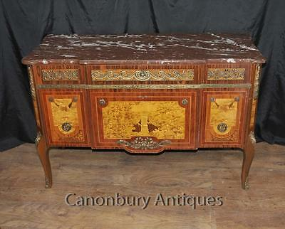 Antique French Chest Drawers Commode Cherub Inlay Empire Antiques