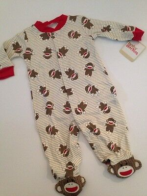 e5bd7e3ef0 Baby Starters Sock Monkey Boy Coverall Outfit Pajamas Size 3 6 9 Months  Striped