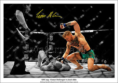 Conor Mcgregor Signed Print Poster Photo Ufc 194 Mendes Montage Knockout