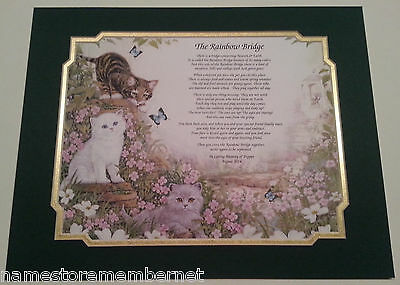 """The Rainbow Bridge"" Personalized Pet Memorial Poem For Loss of a Beloved Cat"