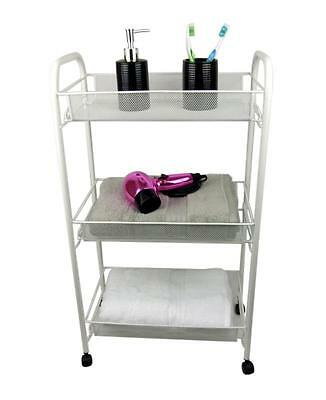 White Bathroom Storage Trolley 3 Tier Toiletry Linen Cart Metal Stand Wheels