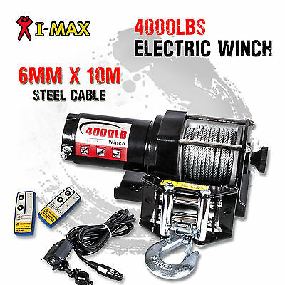 I-Max 12V Wireless 4000LBS/1800KGS Electric Steel Cable Winch ATV 4WD 4x4 Boat