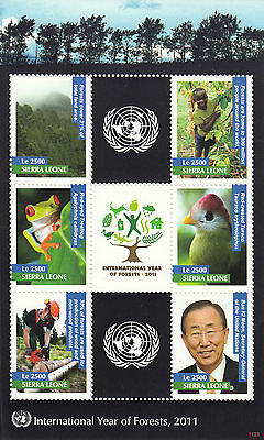 Sierra Leone 2011 MNH Int Year of Forests 6v M/S Birds Trees Frog Turaco