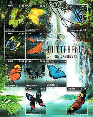 St Kitts 2013 MNH Butterflies of Caribbean 10v M/S Insects Blue Morpho Stamps