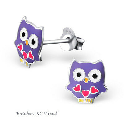 925 Sterling Silver Purple Owl & Lovehearts Girls Kids Earring Studs Party Gift