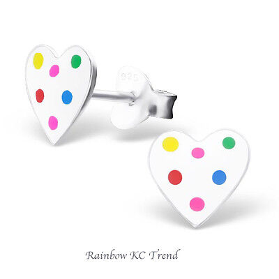 925 Sterling Silver White Heart with Colouful Spots Girls Kids Earring Studs