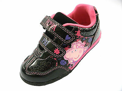 Girls Peppa Pig Vecro Fastening Trainer (Inverary) Black/Pink Size 5,6,7,8,9,10