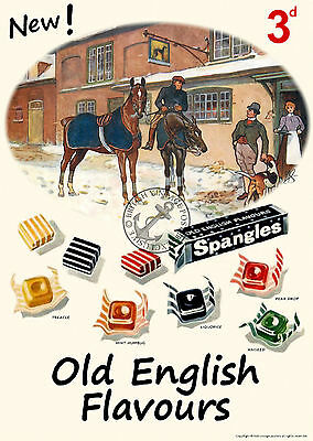 Vintage Poster Spangles Old English Sweets RETRO ADVERTISING ART Print 1960s 70s