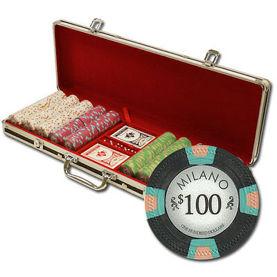 New 500 Milano 10g Clay Poker Chips Set with Black Aluminum Case - Pick Chips!