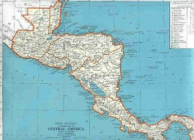 1949 Vintage R. McNally MAP MEXICO / CENTRAL AMERICA Costa Rica