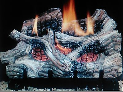 "36"" Gas Logs Burner Fireplace Natural Gas Thermostatically Controlled Vent-Free"