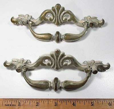 Vintage 1960s Era Pair of French Provincial Large Furniture Bail Pulls Handles