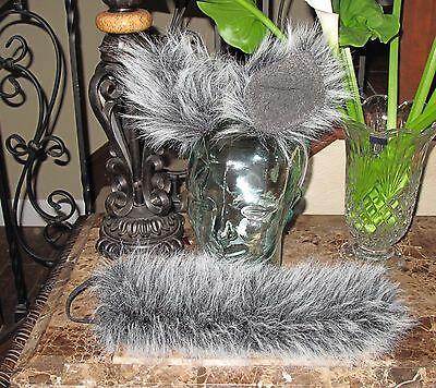 Cosplay black white tip luxury faux fur ears and tail in 2 sizes