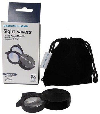 Bausch & Lomb Folding Pocket Magnifier Loupe 4X+5X=9X Knitting Coin Stamp US