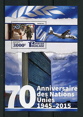 Togo 2015 MNH UN United Nations 70th Anniv 1v S/S Headquarters Buildings Stamps