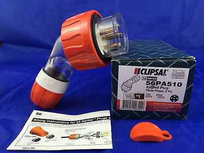 CLIPSAL 56PA510 Angled Plug 3 Phase 5 round Pin 10A 500V IP66 10amp EO Orange