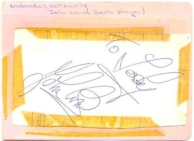 John Lowe signed autograph album page 1970s English World Darts Champion