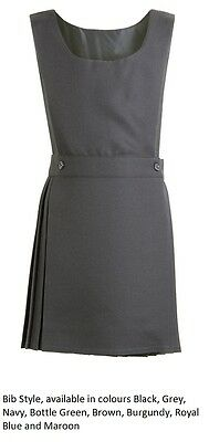 Pleated Bib Pinafore Dress Ages 2-12 Girls School Uniform Grey Black Grey Navy
