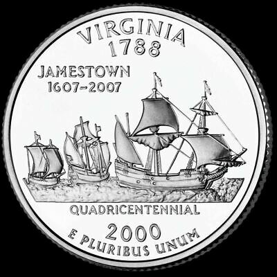 "2000 P Virginia State Quarter New U.S. Mint ""Brilliant Uncirculated"""